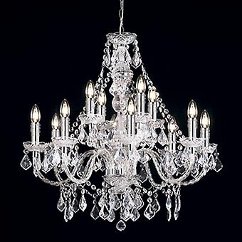 Endon 308-8+4CL 12 Light Chandelier In Clear Acrylic