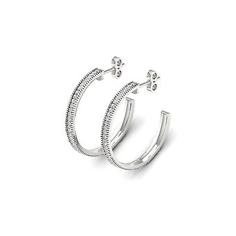 IGI Certified S925 Sterling Silver 0.25Ct Diamond Row Half Hoop Earrings