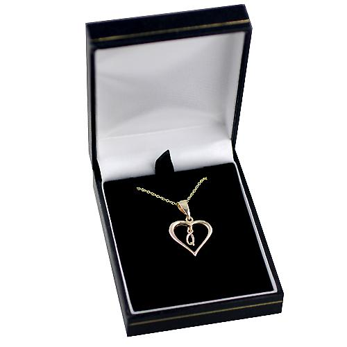9ct Gold 18x18mm initial Q in a heart with Cable link chain