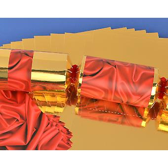 8 Gold with Red Silk Make & Fill Your Own Party Crackers - Craft Kit