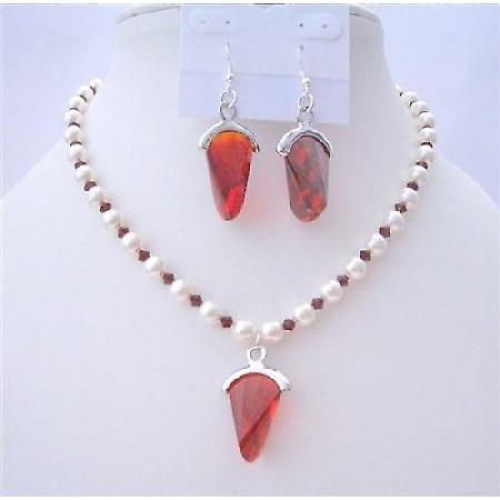 White Pearls Jewelry Swarovski Siam Red Crystals Earrings Necklace Set