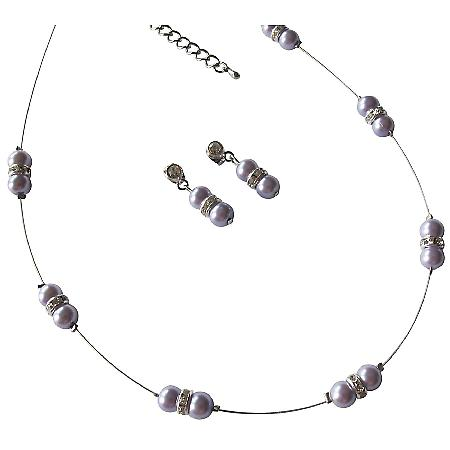 Lilac Pearls Floating Illusion Necklace Rhinestones with Earrings