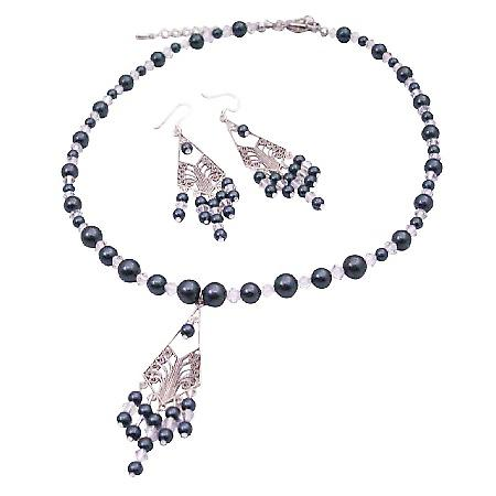 Affordable Tahitan Pearls Earrings Swarovski Clear Crystals Necklace