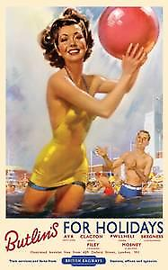 Butlins For Holidays (old rail ad.) metal sign  (og 2015 sm)
