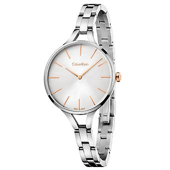 Calvin Klein Graphic Ladies Watch with Silver Bracelet and Silver Dial K7E23B46