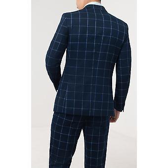 Dobell Mens Marine pak jasje Fit Regular Notch revers blauwe Windowpane Check