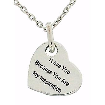 Toc Silvertone 'I Love You Because...' Heart Pendant On 18 Inch Chain