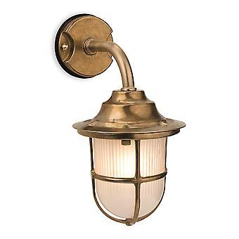 Firstlight - 1 Light Outdoor Wall Light Brass, Frosted Glass IP64 - 7660BR