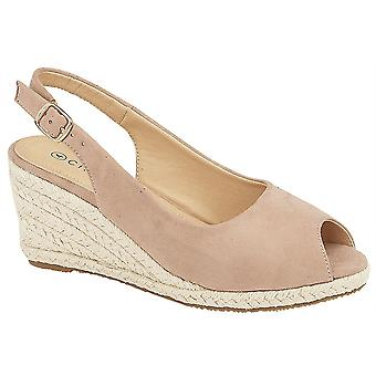 Ladies Womens Sandals Buckle Wedge Micro Suede Espadrilles Shoes