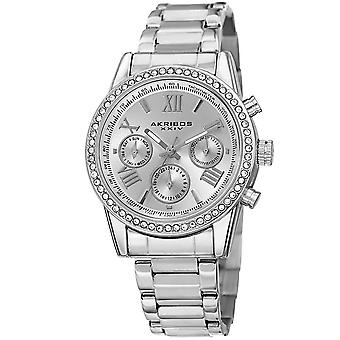 Akribos XXIV Women's Swiss Quartz Austrian Crystals Dual-Time Stainless Steel Bracelet Watch AK872SS