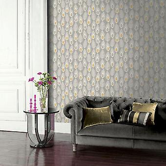 Arthouse Glam Grey Feathers Wallpaper White Yellow Paste The Wall Leaf Feature