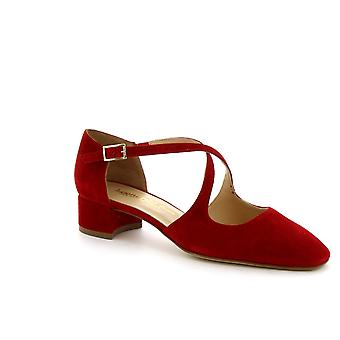 Leonardo Shoes Women's handmade low heels sandals shoes in red suede leather