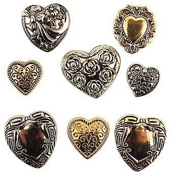 Button Theme Pack-Assorted Fancy Hearts BTP-4130