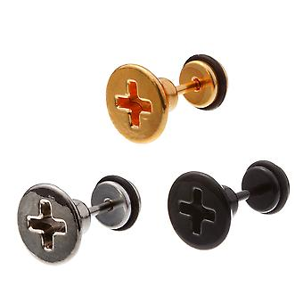 Urban Male Pack of Three Stainless Steel Screw Head Fake Ear Expander Studs