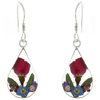 Cris en argent Sterling Violet mélangé de fleurs verre larme boucles d'oreilles