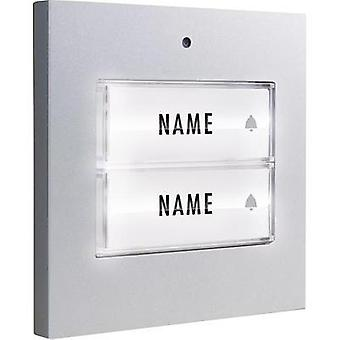 Bell button backlit, with nameplate Semi-detached m-e modern-electronics 41049 Silver 8-24 V AC/DC/1 A