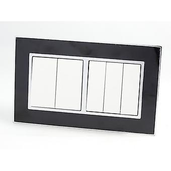 I LumoS AS Luxury Black Mirror Glass  Double Frame Rocker Light Switches