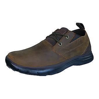Skechers Hinton Boley Relaxed Fit Mens cuir chaussures - marron