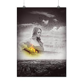 Matte or Glossy Poster with Guitar City Art Music City Panorama | Wellcoda | *q1007