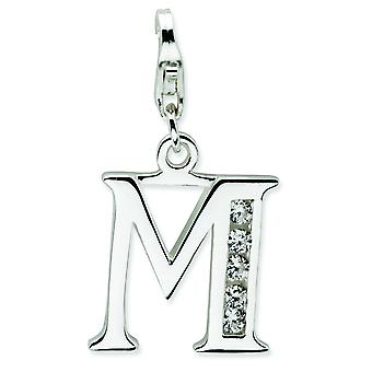 Sterling Silver Solid Polished Rhodium-plated Not engraveable Fancy Lobster Closure Cubic Zirconia Letter M With Lobster