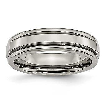 Titanium Grooved Edge 6mm Polished Band Ring - Size 11.5