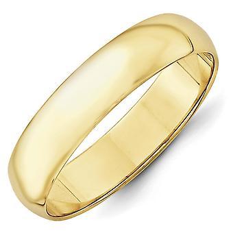 10k Gelb Gold 5mm Ltw eine halbe Runde Band Ring - Ring-Größe: 4-14