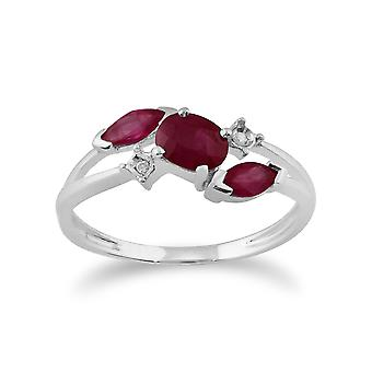 Gemondo 9ct White Gold 0.78ct Ruby & Diamond Cossover Ring
