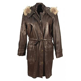 Gavelli - lamb nappa women's coat with raccoon fur collar crushed leather structure