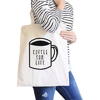 Coffee For Life Natural Canvas Bag Cute Graphic For Coffee Lover