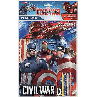 Captain America Civil War Play Pack Colouring Pads Pencils Kids Activity Set