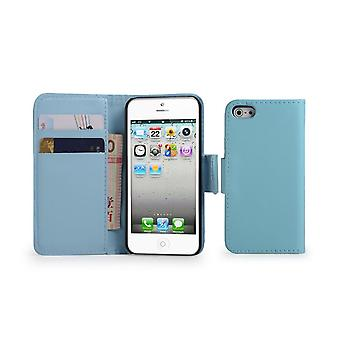 Book Leather Case Cover + stylus for Apple iPhone 5 5S SE - Light Blue