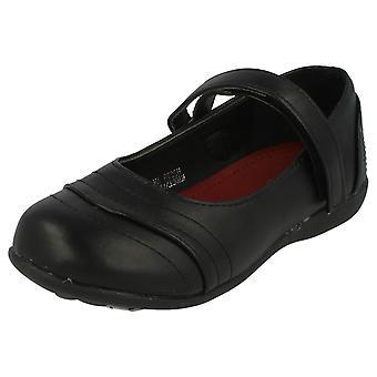 Girls Spot On Flat School Shoes H2278