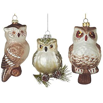 Set of 3 Assorted Woodland Owls Holiday Glass Ornaments