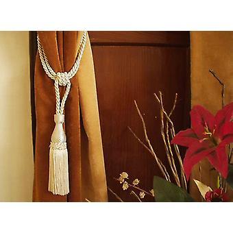 Crema artesanal Tieback de la cortina / abrazaderas / borla - par