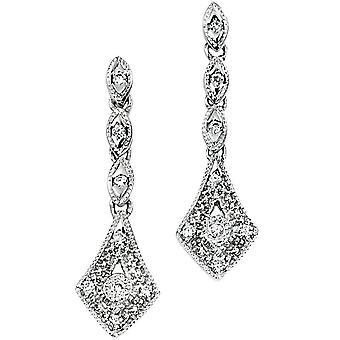 9 CT oro bianco e diamante orecchino