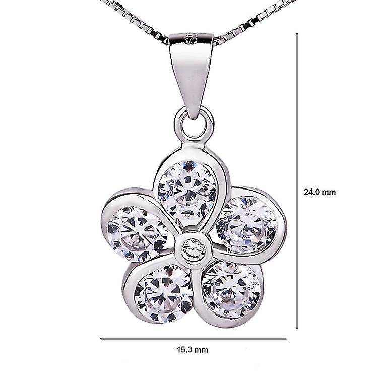 Affici Sterling Silver Pendant with Chain 18ct White Gold Plated  Diamond CZ Gem Flower