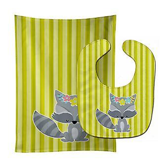 Carolines Treasures  BB7095STBU Raccoon with Flowers Baby Bib & Burp Cloth