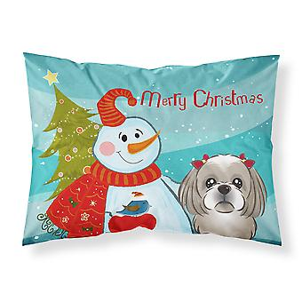 Snowman with Gray Silver Shih Tzu Fabric Standard Pillowcase