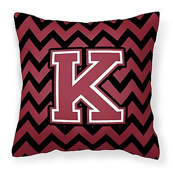Letter K Chevron Garnet and Black  Fabric Decorative Pillow