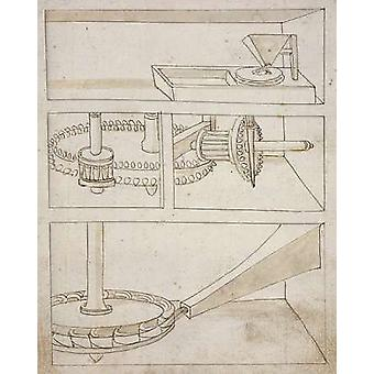 Mill with horizontal water wheel Poster Print by Francesco di Martini