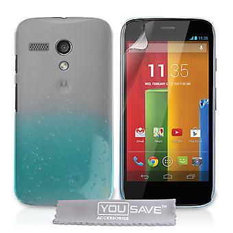 Yousave Zubehör Motorola Moto G Regentropfen Hard Case - blau-Clear