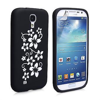 Yousave Zubehör Samsung Galaxy S4 Floral Silikon Gel Case - schwarz