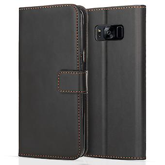 Samsung Galaxy S8 Leather Effect Stand Wallet Case - Black