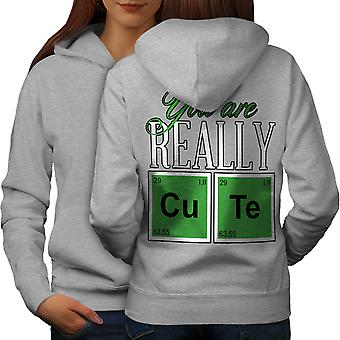 Cute Chemistry Geek Women GreyHoodie Back | Wellcoda