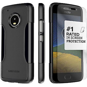 SaharaCase® Motorola G5 Plus Black Case, Classic Protective Kit Bundle with ZeroDamage® Tempered Glass