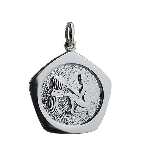 Silver 21mm five sided Aquarius Zodiac Pendant