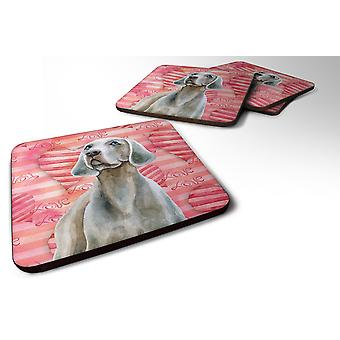 Carolines Treasures  BB9761FC Set of 4 Weimaraner Love Foam Coasters Set of 4
