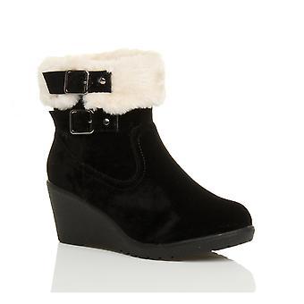Ajvani womens mid low wedge heel fur lined buckle collar zip ankle shoes boots booties