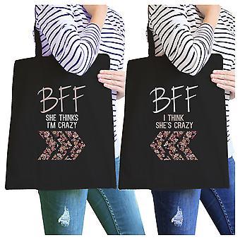 BFF Floral gal BFF matchende lerret poser svart sammenleggbar strand Tote