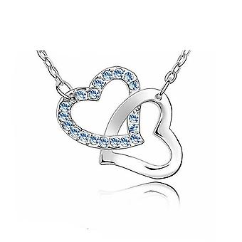 Womens Silver Tone Love Intertwined Heart Pendant Necklace Light Blue Stones
